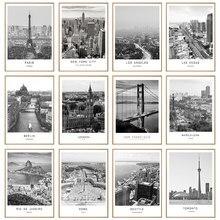 Toile de peinture en noir et blanc, paysage de ville mondiale, affiche imprimée de Paris, londres, New York, Style nordique, tableau d'art mural, décor de maison