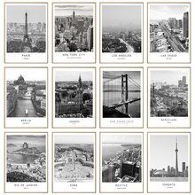Lienzo blanco negro pintura paisaje de la ciudad del mundo París Londres cartel de Nueva York impresiones de arte de pared de estilo nórdico imagen decoración del hogar
