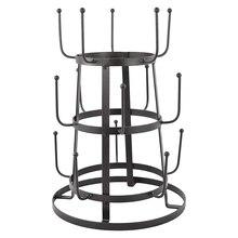 Винтажная деревенская черная железная кружка/чашка/стеклянная бутылка Органайзер дерево сушильная стойка подставка