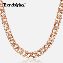 Trendsmax 5mm Necklaces for Women Girls 585 Rose Gold Bismark Link Chain Women's Necklace Fashion Jewelry Gifts 45-50cm GN452