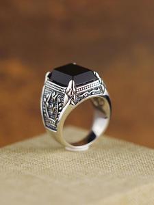 Agate Ring Handcrafted 925-Sterling-Silver Old Black Men Olive-Branch Men's Fashionable