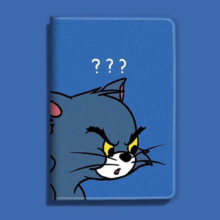С рисунком кота из мультфильма Стиль из искусственной кожи чехол для iPad 9,7 iPad Air 1/2/3 iPad 10,2 2019 Стенд Тонкий чехол для iPad 234 mini 12345 с автоматически...