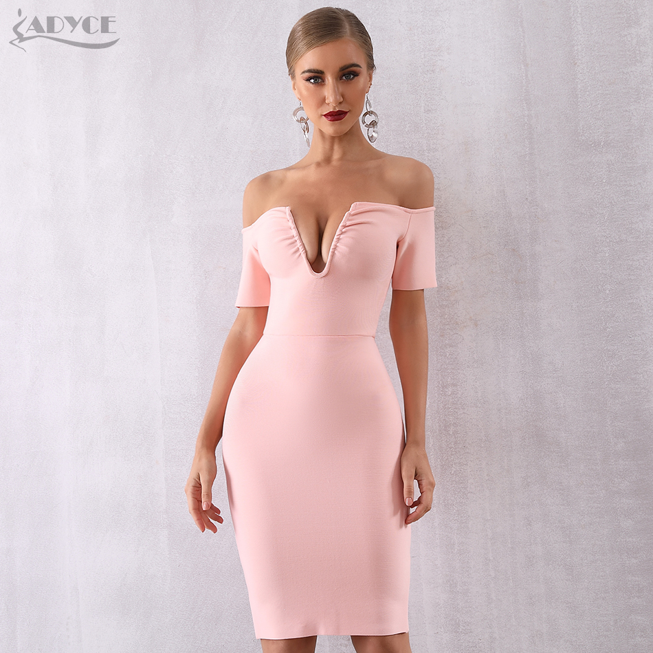 Adyce 2019 New Summer Women Elegant Bandage Dress Sexy Off Shoulder Celebrity Party Dress Short Sleeve V Neck Bodycon Club Dress-in Dresses from Women's Clothing on AliExpress - 11.11_Double 11_Singles' Day 1