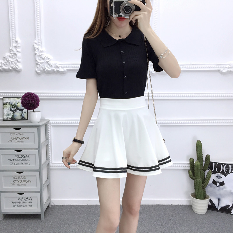 ALSOTO Summer Style Sexy Skirt For Girl Korean Skirts Womens Faldas Anti Emptied Saia Lady Skater Pleated Mini Skirt Tutu
