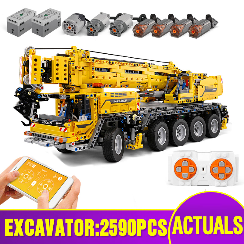 Building-Blocks-Kit Christmas-Toys Legoing Technic Car Mobile-Crane App-Control 20004 title=