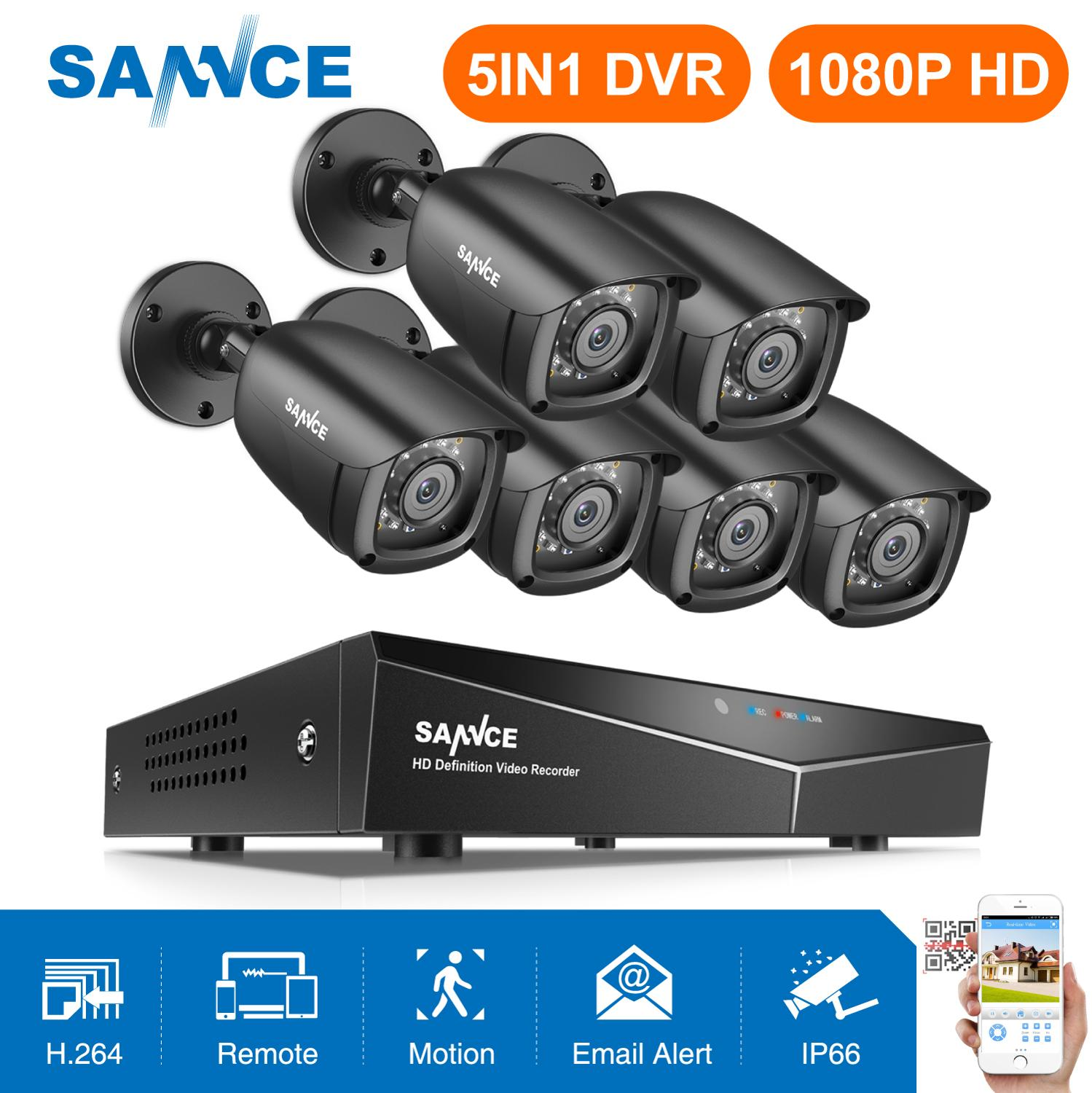 SANNCE 8CH 1080P Video Security System 5IN1 DVR With 6PCS 1080P TVI Smart IR Outdoor Weatherproof CCTV Surveillance Cameras Kit