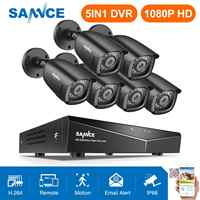 SANNCE 8CH 1080P Video Security System 5IN1 DVR With 6PCS 1080P TVI Smart IR Outdoor Weatherproof CCTV Surveillance Cameras Kit