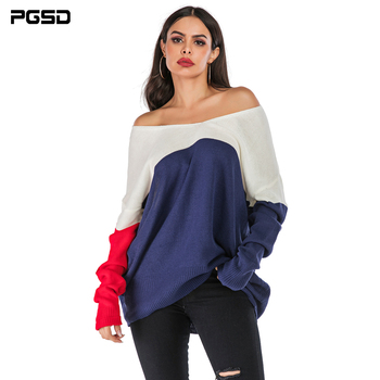 PGSD Autumn winter Coloured knitted women sweater Bat sleeve loose Deep V-collar simple clothes female Warm soft Casual Pullover pgsd autumn winter women clothes simple solid lace stitching short hoodie bat sleeve loose sweatshirt pullover casual top female