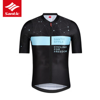 Santic 2019 Summer Men's Cycling Jersey Short Sleeve Breathable Comfortable Reflective Dot Print Design Road Bike Riding Gear