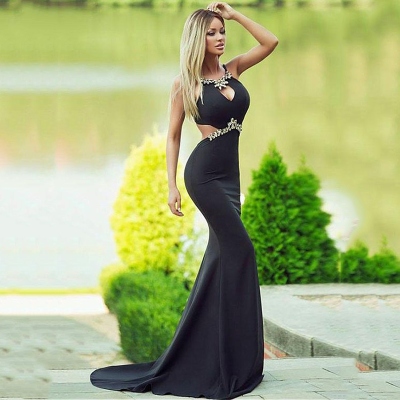Black Formal Dress 2020 Robe De Soiree Spandex Beadings Long Mermaid Evening Gown Elegant Evening Dresses Arabic