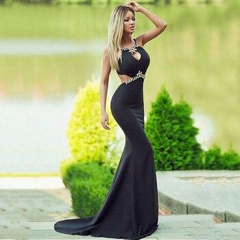 Vestido negro Formal 2020, bata de soiree, con abalorios de licra, vestido de noche largo de sirena, vestidos elegantes de noche arabe