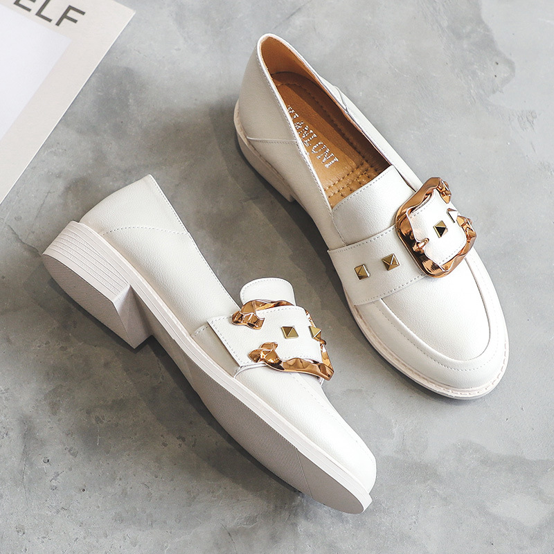 2020 New Fashion Spring Women White Shoes Split Leather Short Heels Pumps Casual Loafers Shoes Women