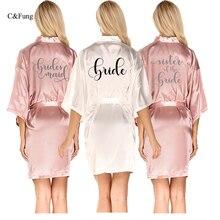 C& Fung темно-розовый халат серебряное кимоно с надписью атласная пижама Свадебный халат Подружка невесты, сестра мать невесты халаты