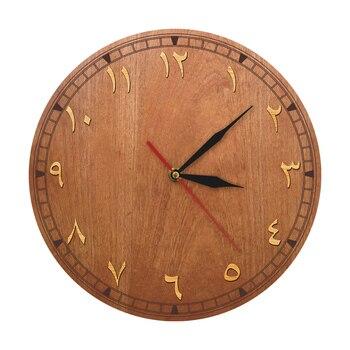 Reloj de pared de madera con números arábigos, decoración para el hogar, reloj de pared de cuarzo Eski Vakit Duvar Saati
