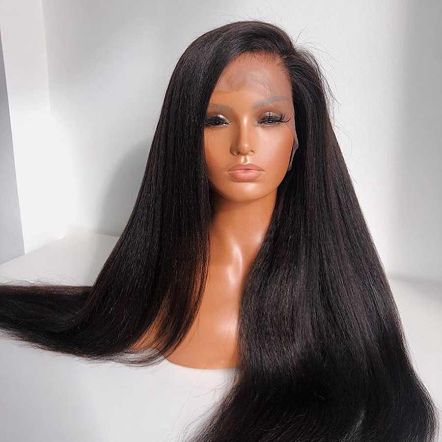 Italiaanse Yaki Straight Human Hair Lace Front Pruiken Pre Geplukt Haarlijn Yaki Straight 4X4 Zijde Basis Volledige Kant pruiken Voor Zwarte Vrouwen