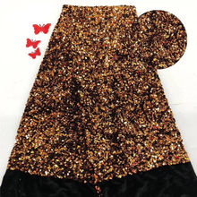 Most popular African velvet material French soft material velvet lace fabric with sequins for party dress PVZ13(5yards/lot)()