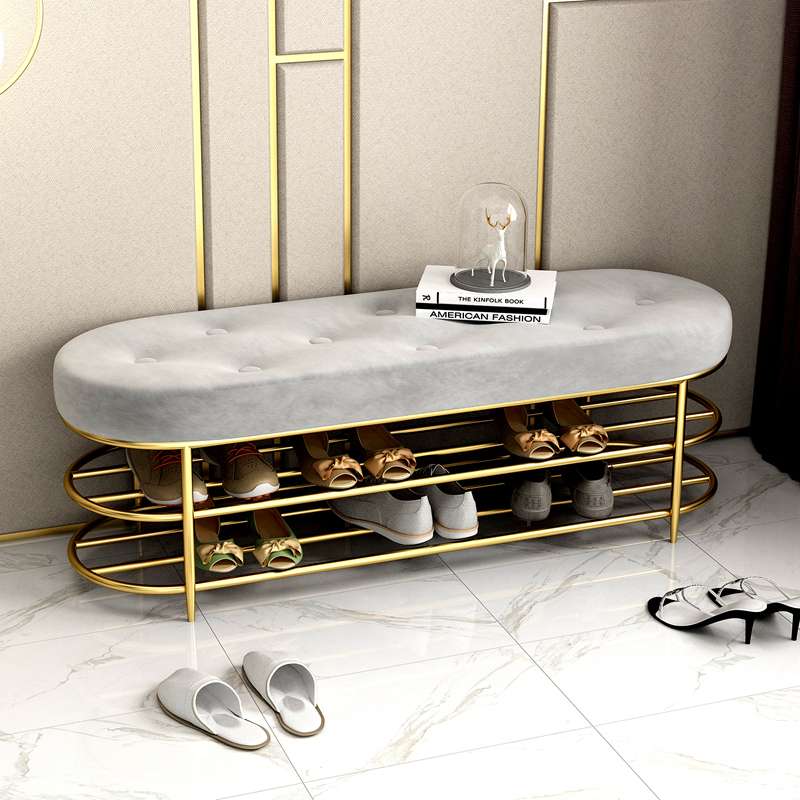 Customized Luxury Shoe Stool With 2 Tiers Shoe Rack Shelf Sofa Seat Cushion Entrance Door Shoe Cabinet Shoe Bench Storage Stool