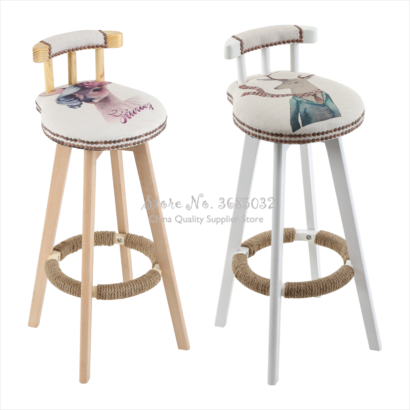 Bar Chair Solid Wood Home Back Bar Chair Rotating Bar Stool Fashion Modern Minimalist New European Creative High Stool