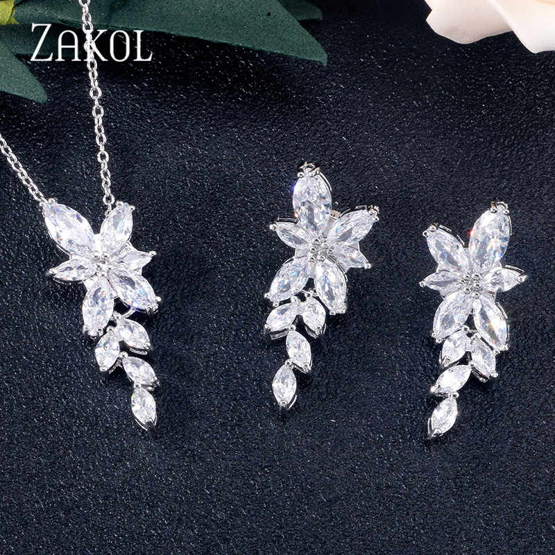 ZAKOL Newest 3 Color Cubic Zirconia Leaf Earrings Necklace Set for Women Elegant Bridal Wedding Party Jewelry Set FSSP3064