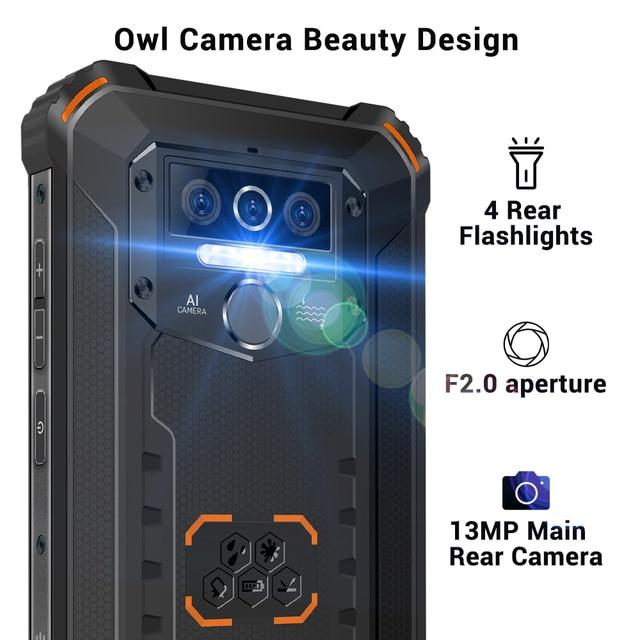 Oukitel wp5 pro ip68 à prova dip68 água smartphone 8000mah android 10 triplo rosto da câmera/impressão digital id 5.5 polegadas 4gb 64gb telefone móvel 4