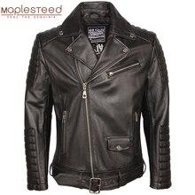 Chaqueta de cuero de motocicleta chaquetas de cuero de los hombres 100% piel de vaca Real abrigo de invierno chaqueta de motociclista ropa de hombre M306