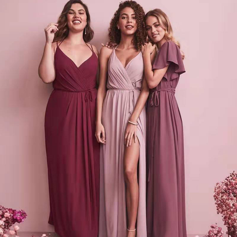 Custom Split Bridesmaid Dresses Long 2019 New Chiffon New Years Eve Dress  Women Dress Red For Bridemaide Vestidos Mujer 2018
