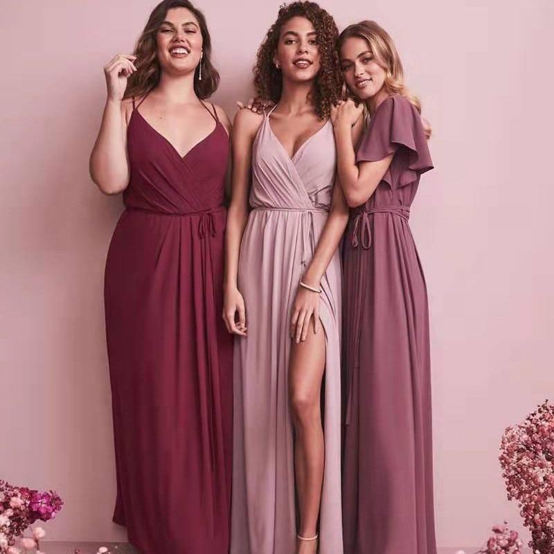Custom Split Bridesmaid Dresses Long 2019 New Chiffon New Years Eve Dress  Women Dress Red For Bridemaide Vestidos Mujer 2018