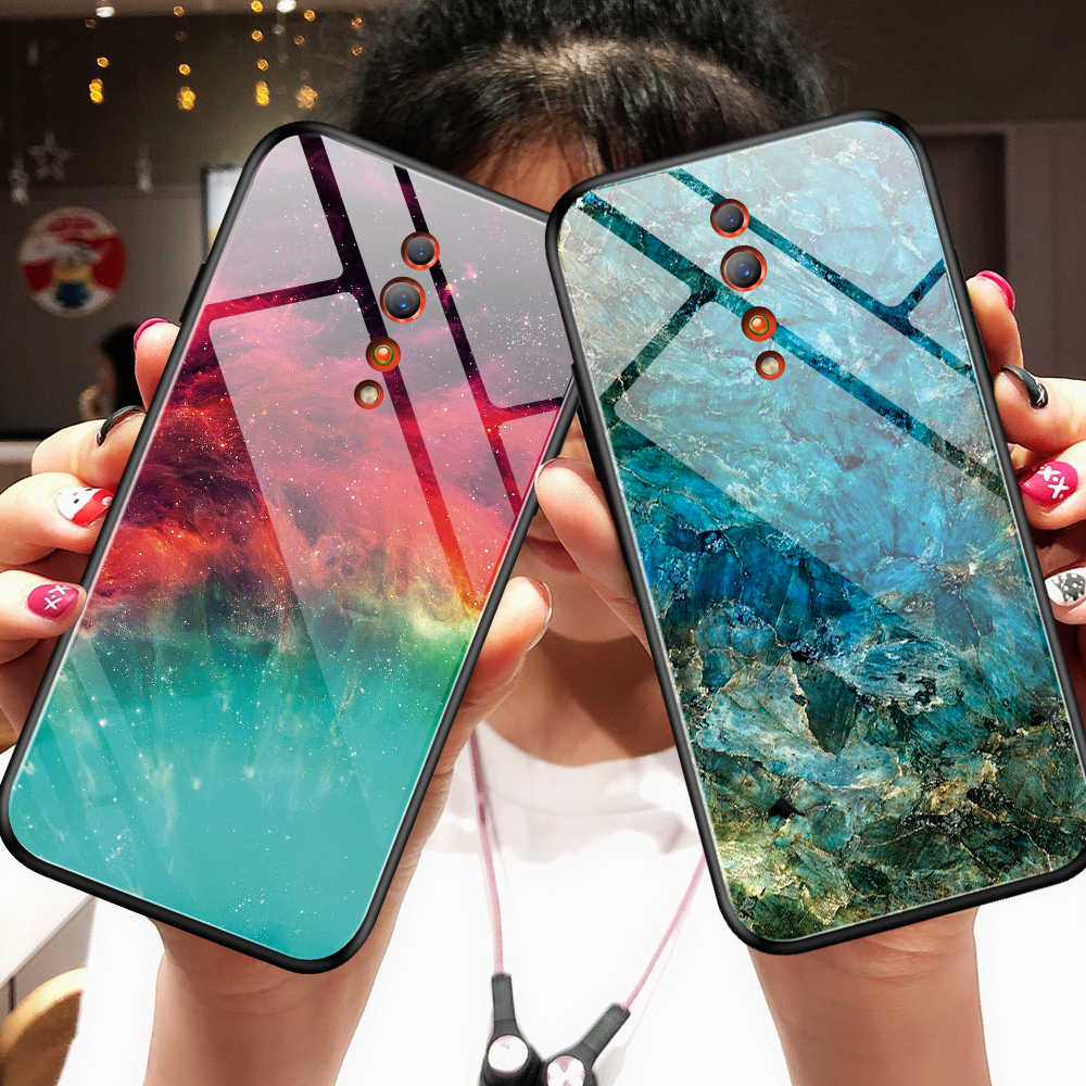 Gradient Tempered Glass Case For OPPO Find X A9 R17 F11 pro K1 Reno 10x zoom Z A1K Realme 3 Pro Lite R15X Phone Case Cover Shell