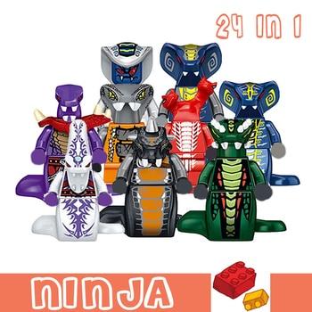 Ninjagoe Blocks 24 in 1 Ghost Evil Ninja Pythor Chop'rai Mezmo Serpentine Army Model Toys Gifts Building Blocks Kids Children 1