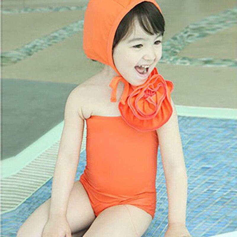 KID'S Swimwear Korean-style Cute Medium-small Girls One-piece Triangle Belt Swimming Cap Princess Swimsuit Set