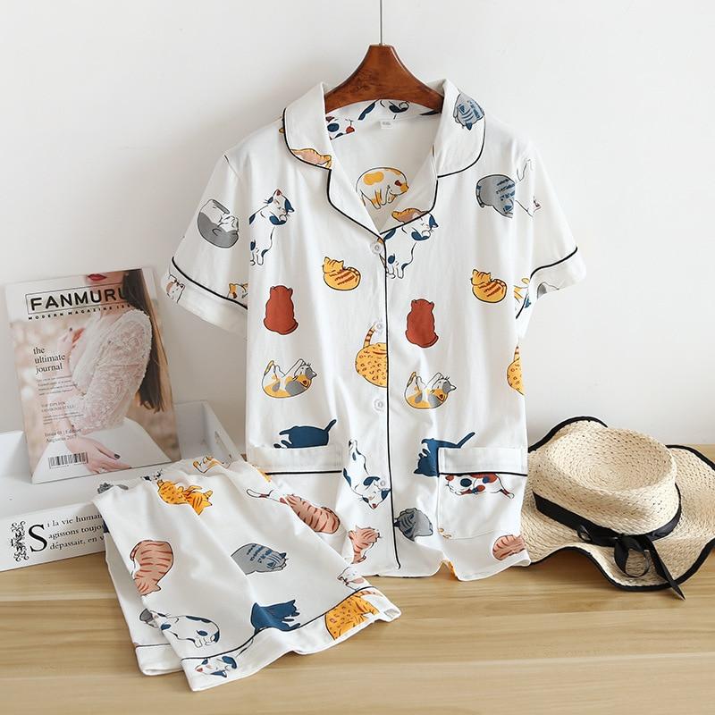 Nouveau ensemble pyjama pour femmes 100% coton à manches courtes, joli dessin animé, style japonais, simple, service à domicile