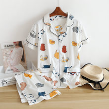 New 100% cotton short-sleeved shorts ladies pajamas set cute cartoon pajamas Japanese simple short pajamas women home service