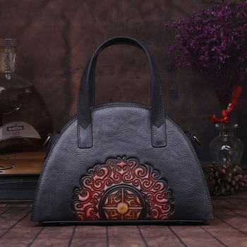 Women Messenger Shoulder Bags Handle Genuine Leather Embossed Luxury Real Cowhide Ladies Tote Bag Vintage Female Cross Body Bags