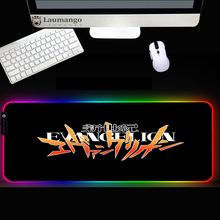 Mouse pad rgb Anime Evangelions Logo Large size Home office keyboard mat RGB LED Light Luminous mousepad  gamer