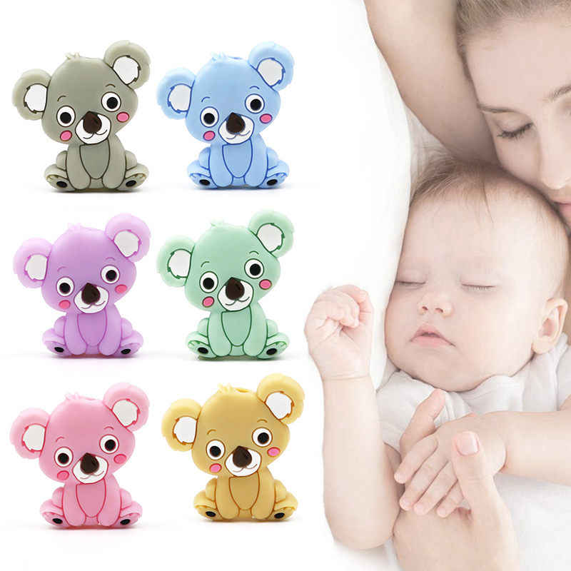 Wholesale Baby Silicone Teethers BPA Free Teething Toy Cute Koala Animal Baby Ring Teether Silicone Beads DIY Teether Chain
