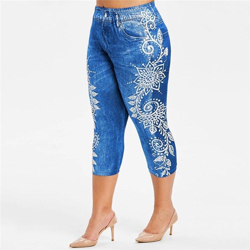 Printed False Denim Short Leggings 3\4 Women Jeans Leggings High Waist Breeches Capri Pants Super Elastic Jeggings Plus Size 2XL