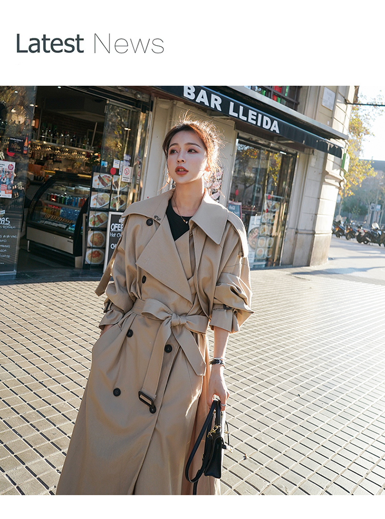 Hb2fdf7e1d1ea455db58127bba8ebc638k Korean Style Loose Oversized X-Long Women's Trench Coat Double-Breasted Belted Lady Cloak Windbreaker Spring Fall Outerwear Grey