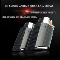 1PCS ak plain weave Glossy carbon car exhaust system muffler plain tip Tail Pipes straight Silver stainless steel