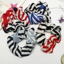 Scrunchie Women Elastic Hair Rope Ring Tie stripe color blocking Ponytail Holder Headband