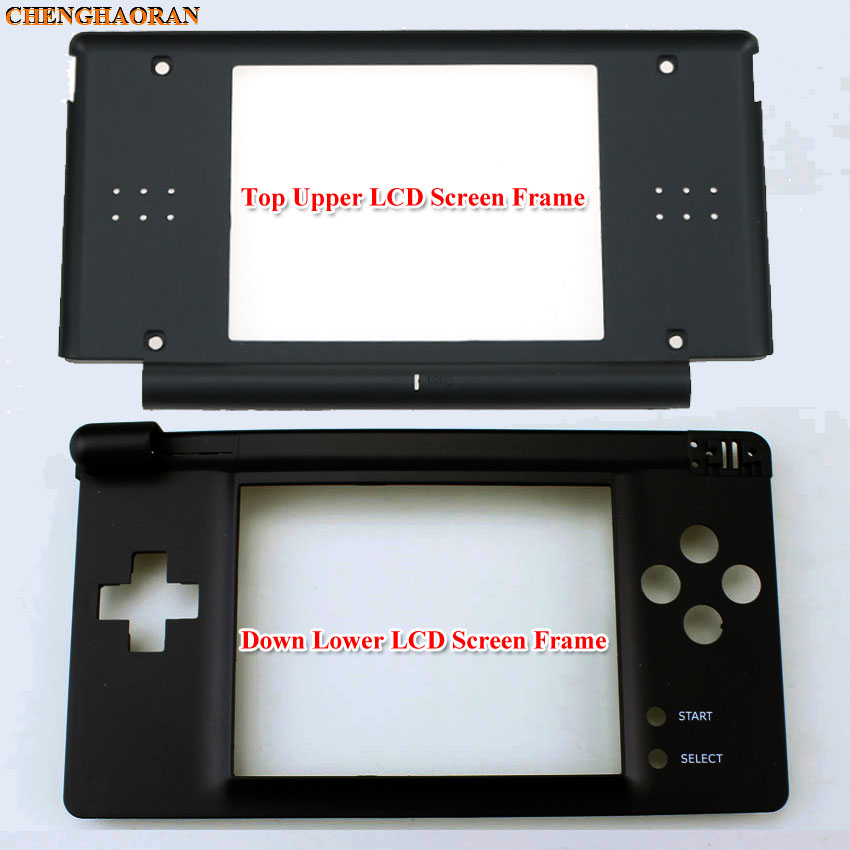 ChengHaoRan Black Plastic Top Upper / Lower LCD Screen Frame For DS Lite For NDSL Game Console Display Screen Housing Shell