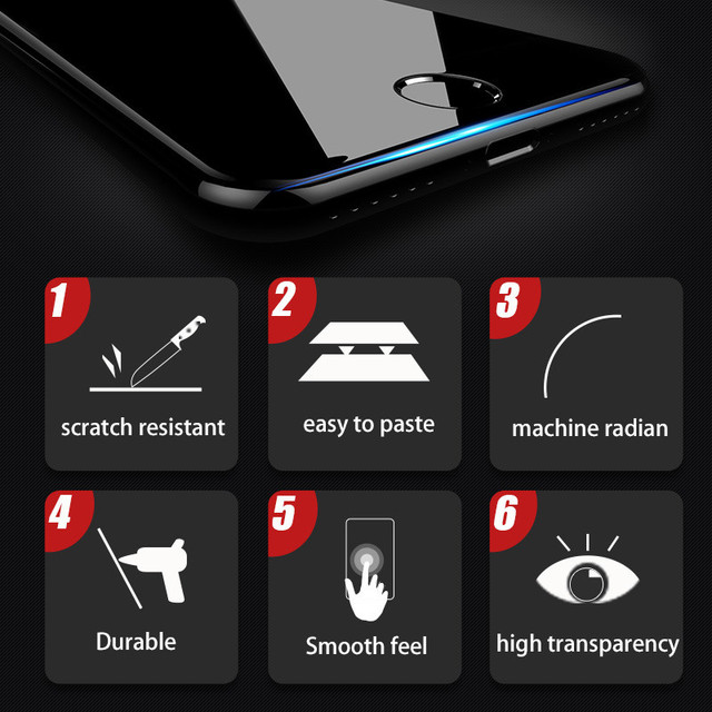 3PCS Full Cover Protective glass on For iphone 7 8 tempered Glass Film On iPhone 6 6s Plus SE 2020 Screen Protector Curved Edge 5