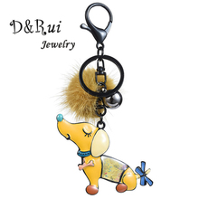 D&Rui Jewelry 2019 Cute Enamel Dog Keychain for Women Girls Boys New Year Gift Metal Key Chain Rings Charm Car Bags Accessories