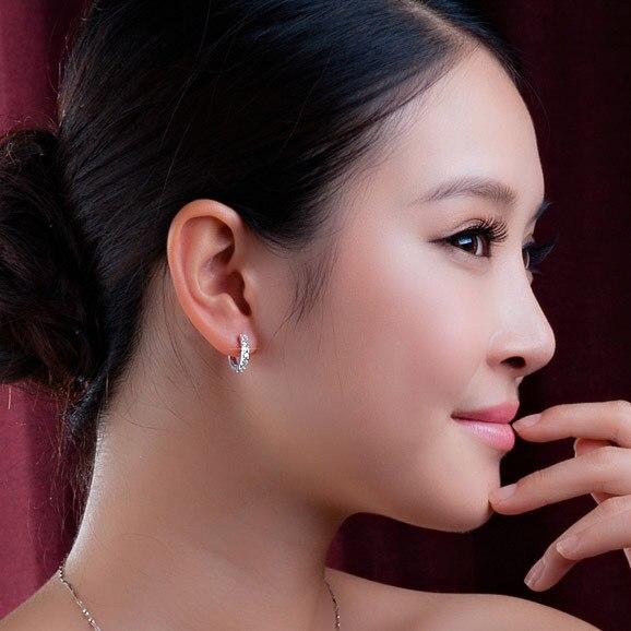 925 Sterling Silver Crystal Circle Earrings 6