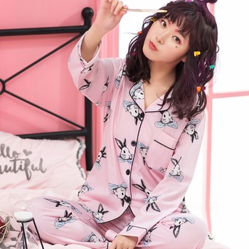 2020 Spring Autumn 100% Cotton Pajama Sets for Women Long Sleeve Sleepwear Pyjamas Homewear Loungewear Pijama Mujer Home Clothes