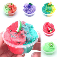 2018 hot sale fruit slices soft scented stress relief toy sludge scented stress kids clay slime toys interesting toys gift bill 60ml Cloud Slime Non-sticky And Soft Scented Slime Fruit Fluffy Clay Supplies With Cute Charm Stress Relief Toy Kit Set For Kids