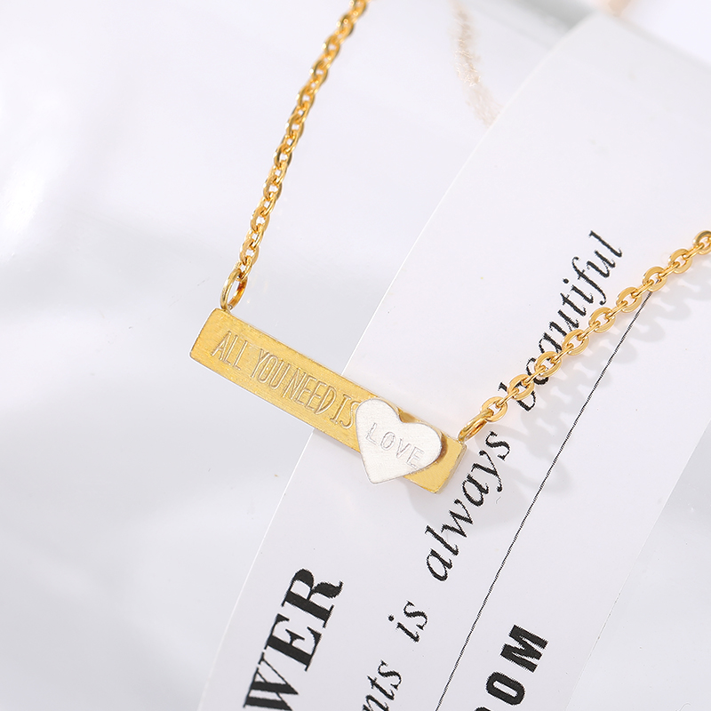 Long Bar Love Statement Choker Necklace Gold Chain Stainless Steel <font><b>Ketting</b></font> Pendant Fashion Jewelry <font><b>Bff</b></font> Gifts For Girlfriend image