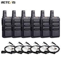 RETEVIS RT19/RT619 워키 토키 6PCS PMR 라디오 FRS/PMR446 복스 스크램블러 주파수 호핑 양방향 라디오 트랜시버 Comunicador
