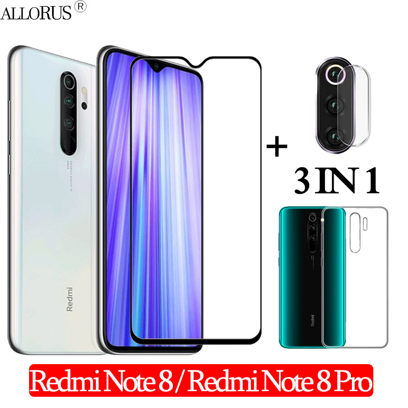 3-in-1 Case + Camera Tempered Glass For Xiaomi Redmi-Note-8-Pro Screen Protector Redmi Note8 Pro Glass Redmi Note 8 3D Glass