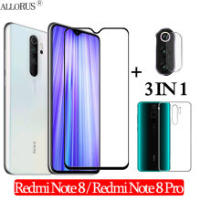 3-In-1 Case + Kamera Anti Gores Xiaomi Redmi-Catatan-8-Layar Pro pelindung Redmi Note 8 Pro Kaca Redmi Note 8 3D Kaca redmi note 8 glass(China)