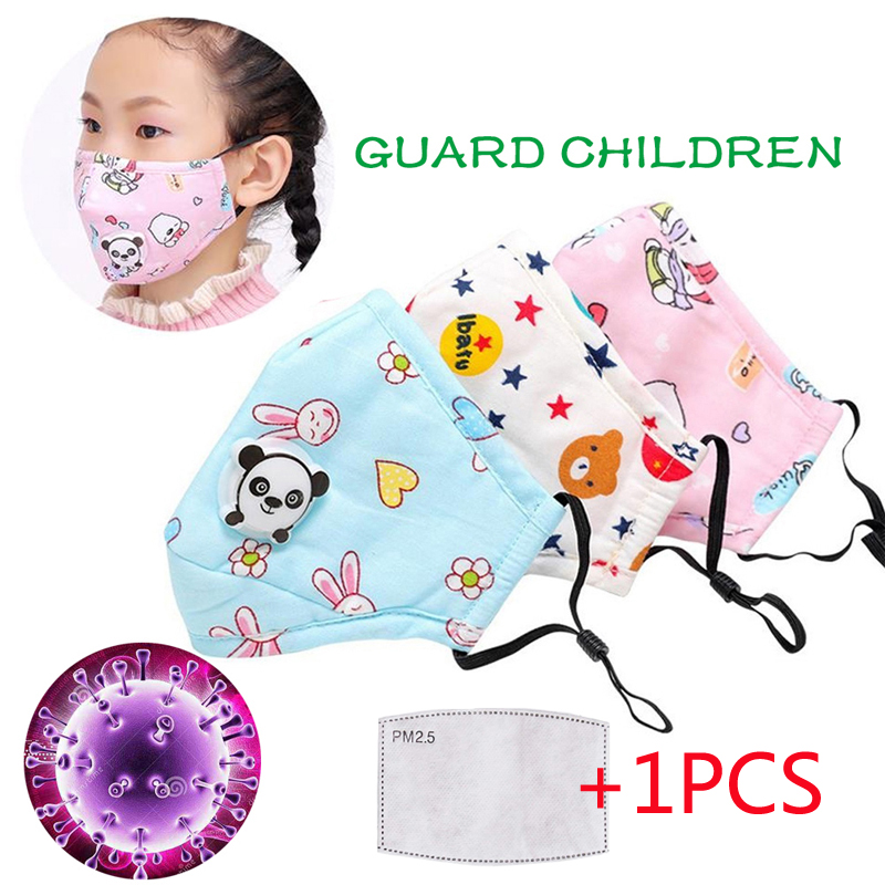 YELITE Child Cotton Mouth Masks Ffp3 With Valve Activated Carbon Filter PM2.5 Anti Pollution Reusable Masks Adjustable Washable